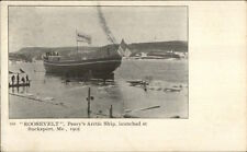 Bucksport ME Launching of Peary's Arctic Ship Roosevelt 1905 Postcard
