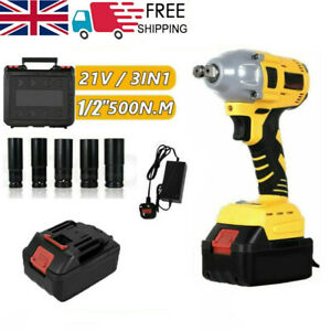 """2 Battery Cordless Impact Wrench 1/2"""" Driver 520Nm Ratchet Rattle Nut Gun & LED"""