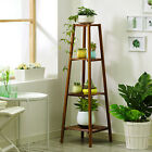 4 Tier Corner Bamboo Plant Stand Ladder Flower pot Display Rack Shelf Holder New