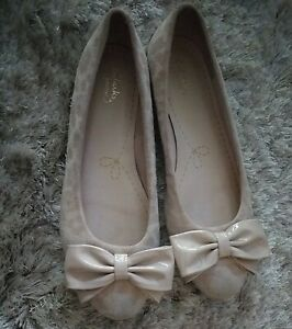 CLARKS SHOES COMFY CASUAL FLAT BALLERINA PUMPS SLIP ON BOW DETAIL SIZE 6 EXCOND