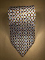 "Ermenegildo Zegna 100% Silk Tie Made in Italy 58"" x 3.75"" Blue Gold Floral"