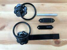 "7"" BLACK PLAIN RING GATE LATCH CATCH medium duty cottage door SIDE GATE + screws"