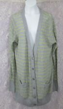 a.n.a. A New Approach Striped Light weight Cardigan Sweater L gray yellow