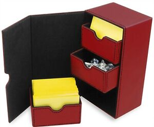 BCW Leatherette Deck Box Vault LX 200 Hold Sleeved Topload Gaming Cards In Red
