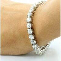 15Ct Brilliant Round Cut Diamond Tennis Bracelet In 14K White Gold Finish