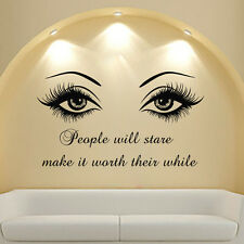 Beautiful Eyes Big Eye Lashes Wink Decor Wall Beauty Art Mural Vinyl Decal MN808