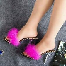 Women's Furry Feather Decor Sandals Stiletto Heels Shoes Pump Slippers