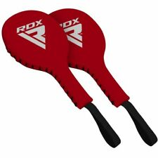 RDX T1 Pro Boxing Paddles Red Mitts Premium Leather Training Coach Pads Pair