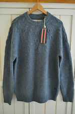 JACK WILLS Mens 'Morville' Blue Cable Wool Knit Jumper Crew, Size XL, BNWT £129