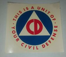 Civil Defense Cold War 4.5 inch water slide Sticker Original 1968