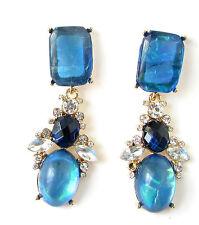 Blue Silver Faux Opal Gold Earrings Drop Art Deco 1920s Vintage Stud 1940s 305