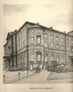 SHEFFIELD ROYAL INFIRMARY: 1950s Print - Pencil Drawing after Graham Clilverd.