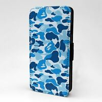 For Mobile Phone Flip Case Cover Blue Gorilla Camouflage - G1255