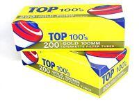 TOP Gold Light 100's 100MM - 3 Boxes - 200 Tubes Box RYO Tobacco Cigarette 100