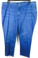 J jill blue denim elastic waist tried & true fit women's straight leg jeans 28W