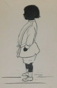 Antique Silhouette Drawing Of Standing Child - S.R. Knox - 1901