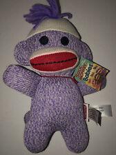 "Schylling Purple Sock Monkey Embroidered Eyes Baby Small 8"" Plush Purple"