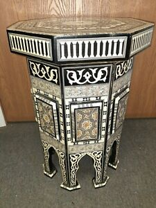 22 inch Tall Egyptian Moroccan Beach Wood Table Mother of Pearl Inlaid Storage