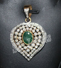 1.91ct NATURAL DIAMOND 14K EMERALD 14K YELLOW GOLD WEDDING ANNIVERSARY PENDANT
