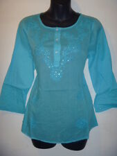 Top Large Tunic Turquoise Blue Embroidery Light Cotton Kurta Button Henley 317