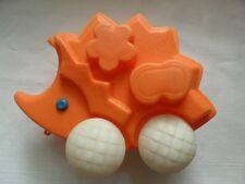 Vintage Soviet USSR Plastic Hedgehog with Wheels Toy Car 8 Inch