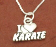 Sterling Silver Karate Necklace solid 925 Charm Pendant and Chain love