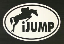 "iJump Oval - Dressage Horse - White - 5 1/4"" Decal Sticker"