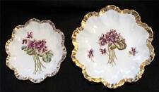 """Antique A LANTERNIER LIMOGES France VIOLETS Pattern Pair 7"""" & 6"""" Plates"""