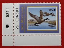 Clearance: (Mt16) 2001 Montana Waterfowl Stamp (plate # single)