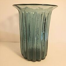 Vintage Blenko Husted #618 Flared Handmade Vase Teal 1961 8 3/4 Inches Tall