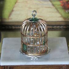 Antique Dollhouse BIRD CAGE Vtg Miniature Pet Birdcage Soft Metal GERMANY German