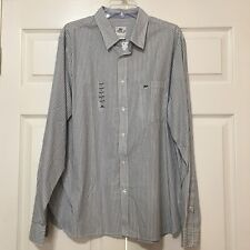 Lacoste Pinstripes Mens Long Sleeve Shirt, Size 45 (XXL)