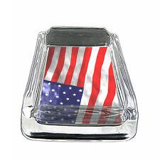 "American Flag D12 Glass Square Ashtray 4"" x 3"" Smoking Cigarette"