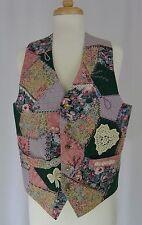 Vtg 70s LEVI'S PANATELA Custom Embellished Patchwork VEST Floral Lace Womens M L