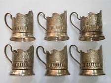 ANTIQUE SILVER USSR SOVIET SPACE ERA PROGRAM TEA COFFEE CUP GLASS HOLDERS 1950's