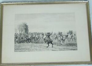 Antique Original  1893 Photogravure Horse Artillery by William Trego Listed
