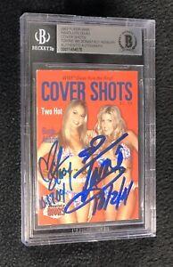 Torrie Wilson Stacy Keibler Signed Fleer WWE Cover Shots Card Beckett Certified