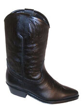 Childrens Black Genuine Leather Cowboy Western Boots