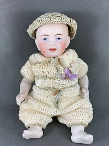 "Antique 5"" German Character Doll Baby Boy By Kestner  Blue Intaglio eyes 1900s"