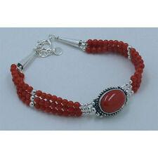 925 Liquid Sterling Silver Natural Red Orange Mediterranean Coral Bracelet