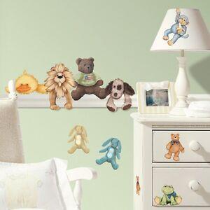 BABY ANIMALS WALL STICKERS 23 New Stuffed Animal Decals Boys Girls Nursery Decor