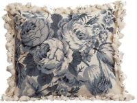 """18"""" x 21""""Handmade Wool Needlepoint White and Blue Roses Pillow with Tassels"""