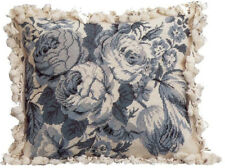 "18"" x 21""Handmade Wool Needlepoint White and Blue Roses Pillow with Tassels"