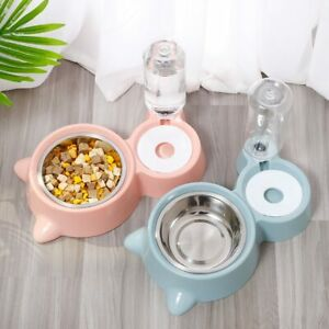 Pet Cat Bowl Stainless Steel Multifunctional Dog Cat Bowl With Water Bottle