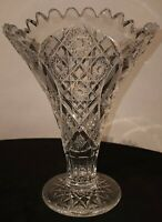 American Brilliant Cut Crystal Flaired Vase Sawtooth Rim 8 in