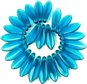 25 Czech Glass Dagger Beads - Capri Blue 16mm