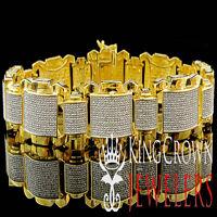 Men's Genuine Diamond Pave 14 MM Yellow Gold Finish Round Cut Bracelet 1.5 Ctw