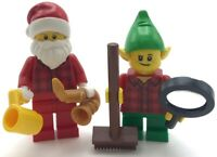 LEGO 2 NEW MINIFIGURES XMAS CHRISTMAS SANTA CLAUS AND HELPERS FIGURES ELF PEOPLE