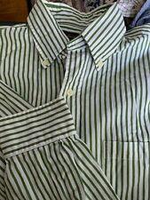 Men BROOKS BROTHERS 1818 White Green Striped Medium Shirt Cotton L/S Pocket