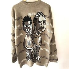 Xeno Mens Sweater Street Wear Crew XXL Graphic Hip Hop Pull Over Platinum